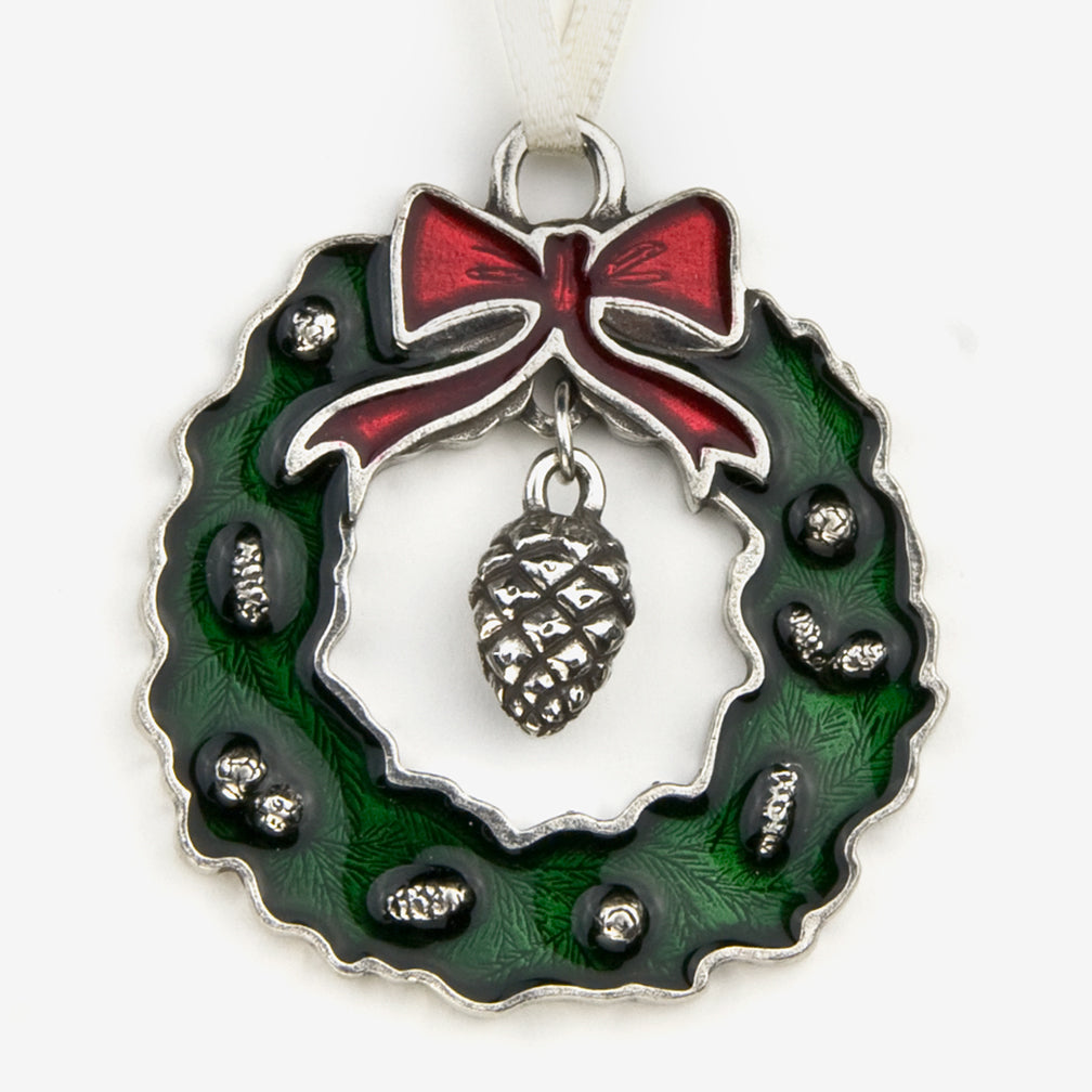 Danforth Pewter: Pewter Ornaments: Green Wreath with Pine Cone