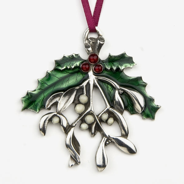 Danforth Pewter: Pewter Ornaments: Mistletoe and Holly 2010 Annual Ornament