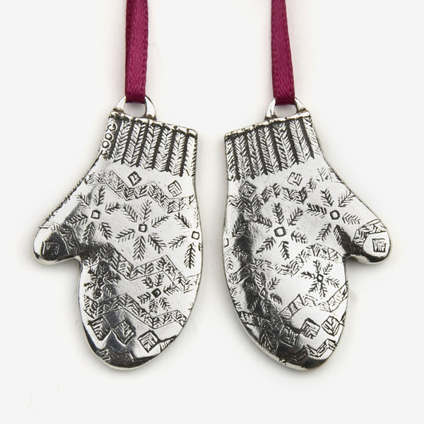 Danforth Pewter: Pewter Ornaments: Mittens 2002 Annual Ornament