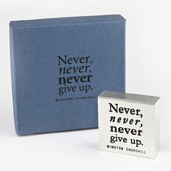 Danforth Pewter: Paperweight: Never Give Up