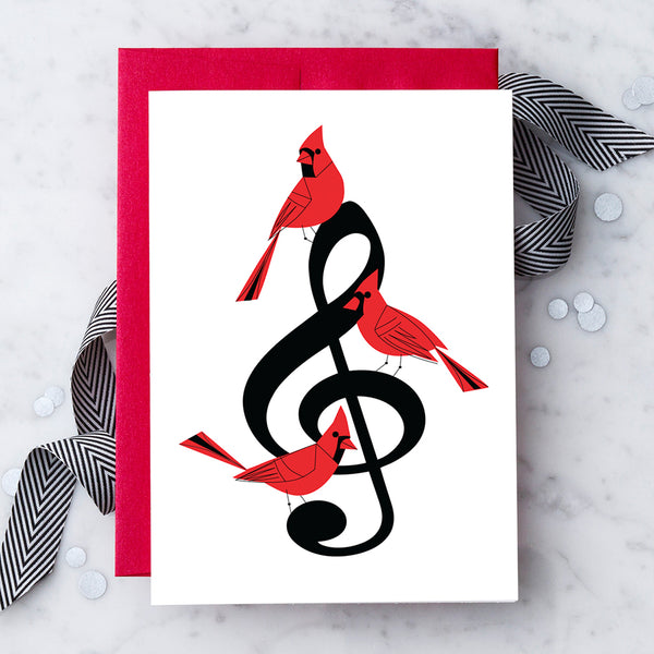 Design with Heart Studio Holiday Card: Musical Cardinals