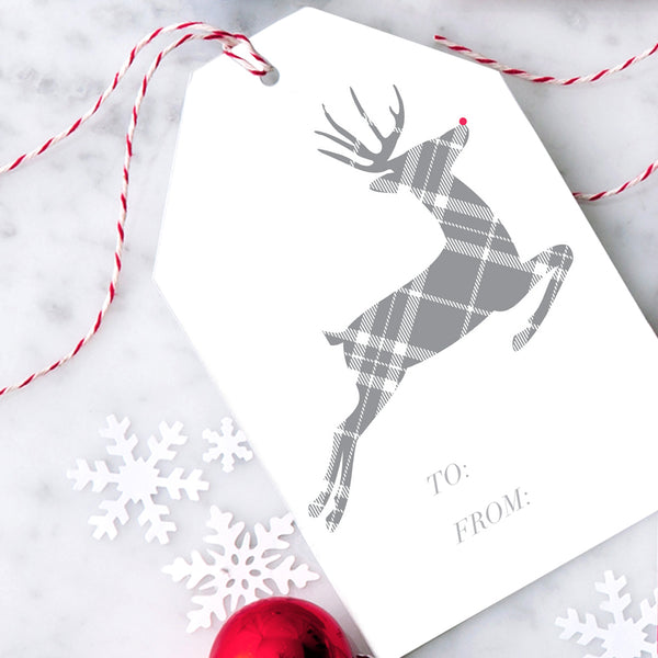 Design with Heart Studio Gift Tags: Plaid Reindeer