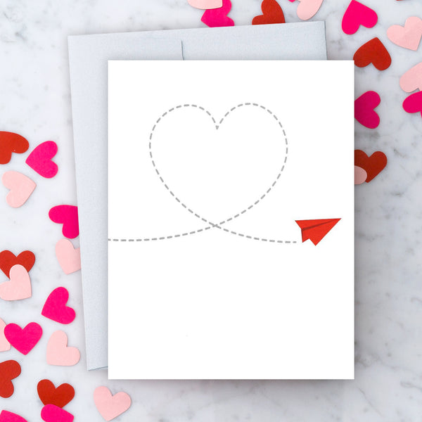 Design With Heart Love Card: Paper Airplane