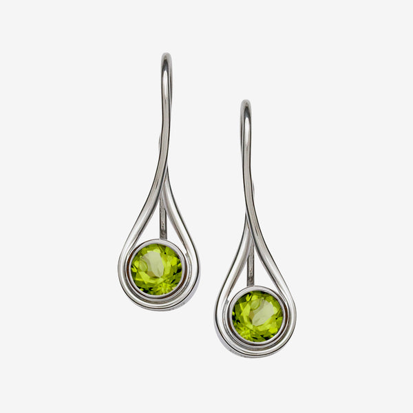 Ed Levin Designs: Earrings: Desire, Silver with Faceted Peridot