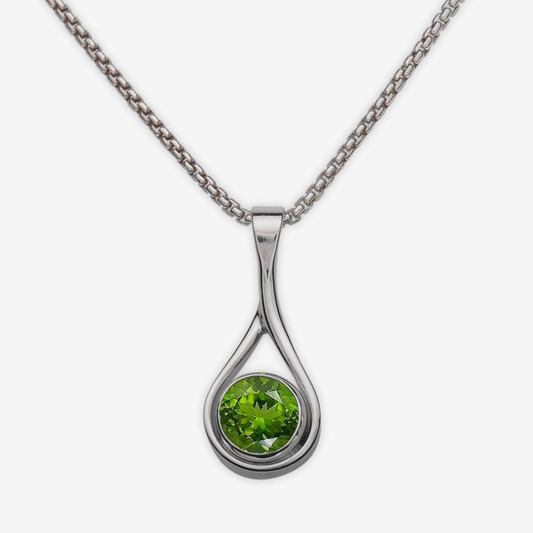 Ed Levin Designs: Necklace: Desire Pendant, Silver with Faceted Peridot 16""