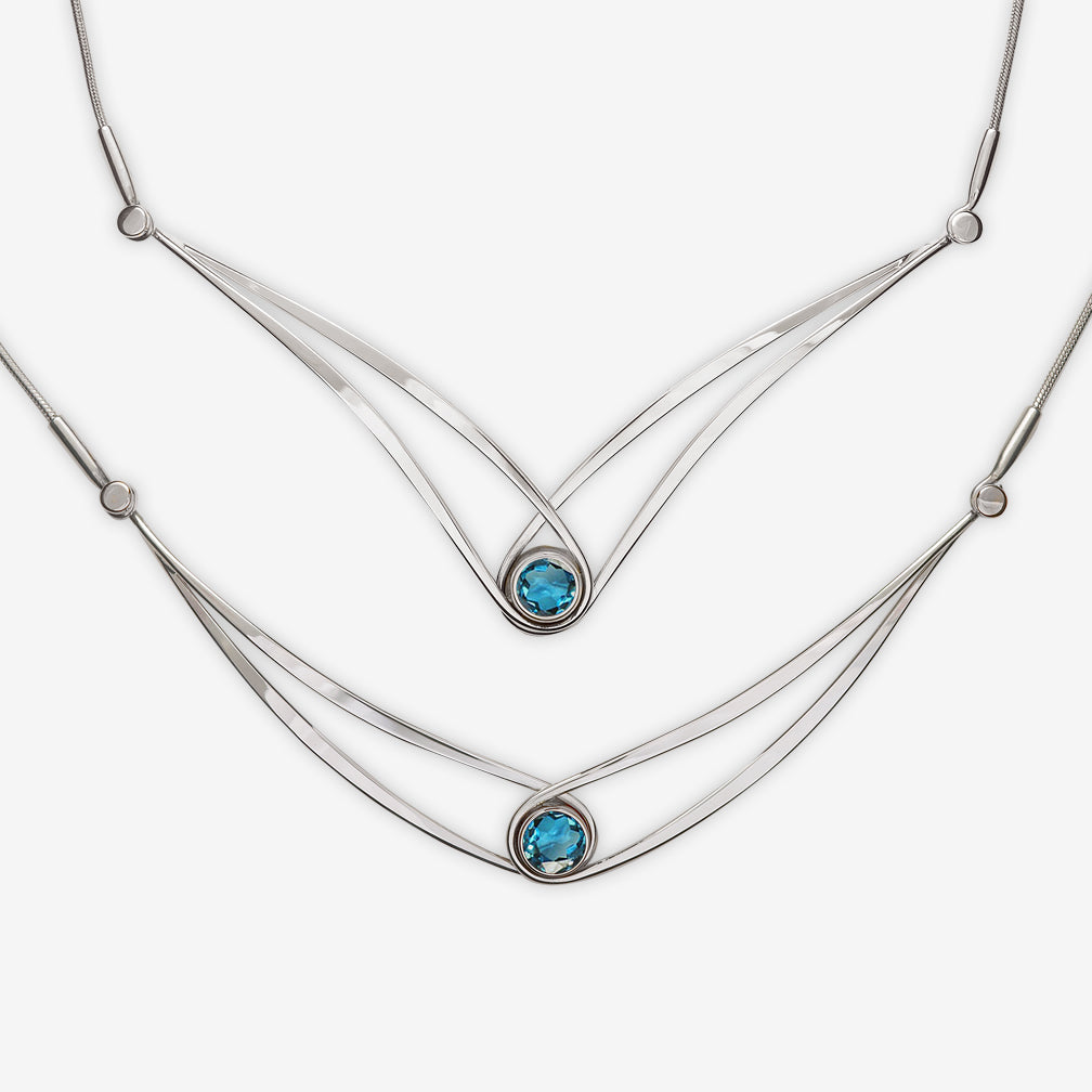 Ed Levin Designs: Necklace: Gemstone Swing, Silver with Blue Topaz