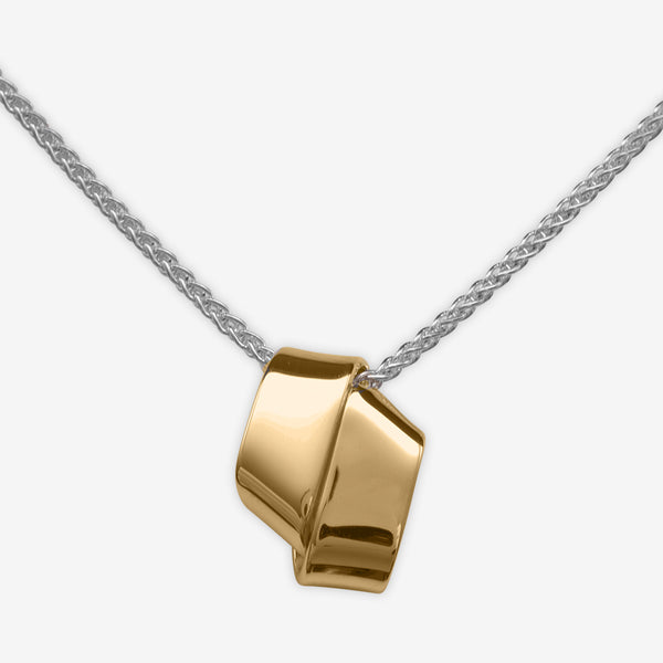 Ed Levin Designs: Necklace: Love Knot, Silver & 14K Gold 16""