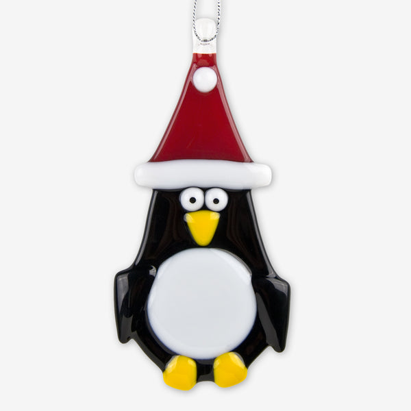 Glassworks Northwest: Fused Glass Ornaments: Penguin with Red Hat