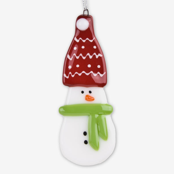 Glassworks Northwest: Fused Glass Ornaments: Snowman with Red Hat