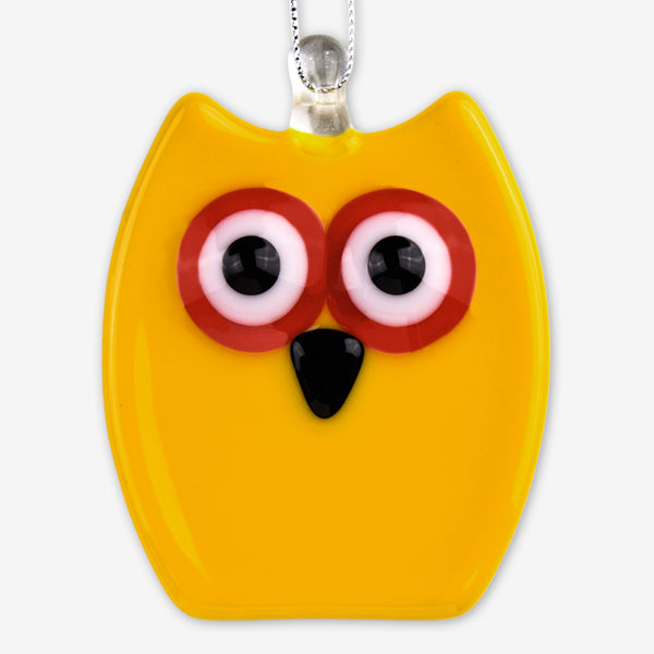 Glassworks Northwest: Fused Glass Ornaments: Yellow Owl