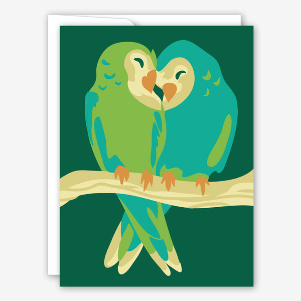 Great Arrow Anniversary Card: Parakeet Couple