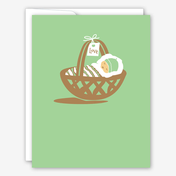 Great Arrow Baby Card: Baby in Basket
