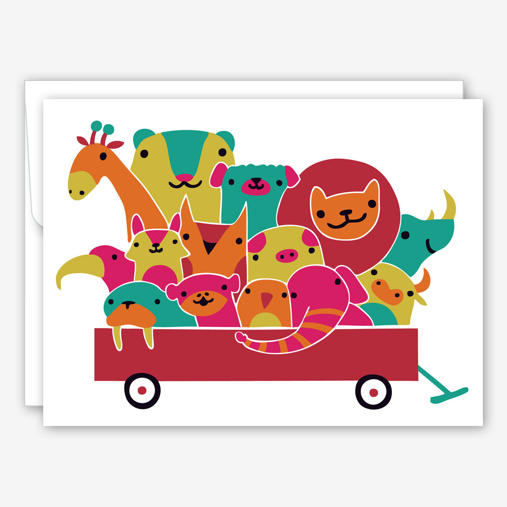 Great Arrow Baby Card: Animal Wagon Plush