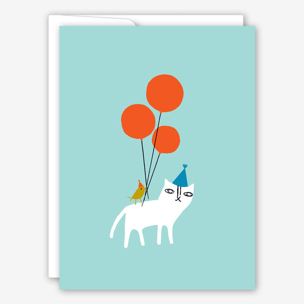 Great Arrow Birthday Card: Cat and Bird with Balloons
