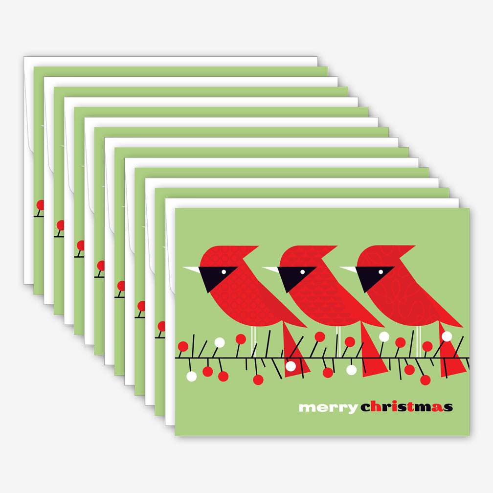Great Arrow Christmas Box of Cards: Three Cardinals on Branch