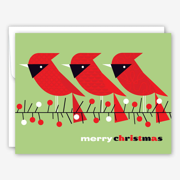 Great Arrow Christmas Card: Three Cardinals on Branch