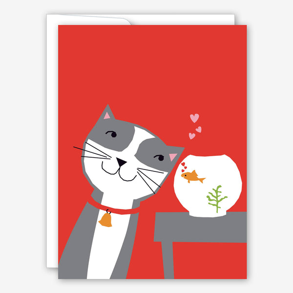 Great Arrow Love Card: Cat and Goldfish