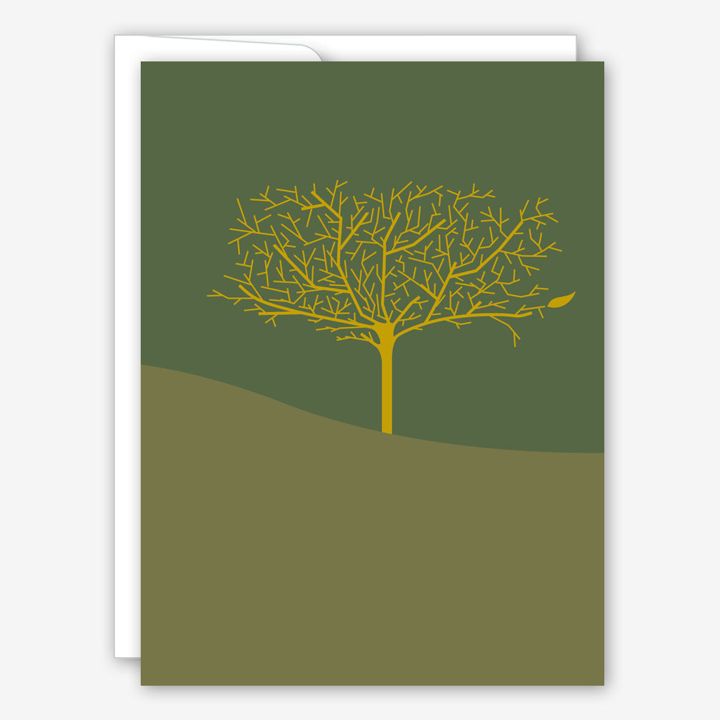 Great Arrow Sympathy Card: Single Tree & Leaf