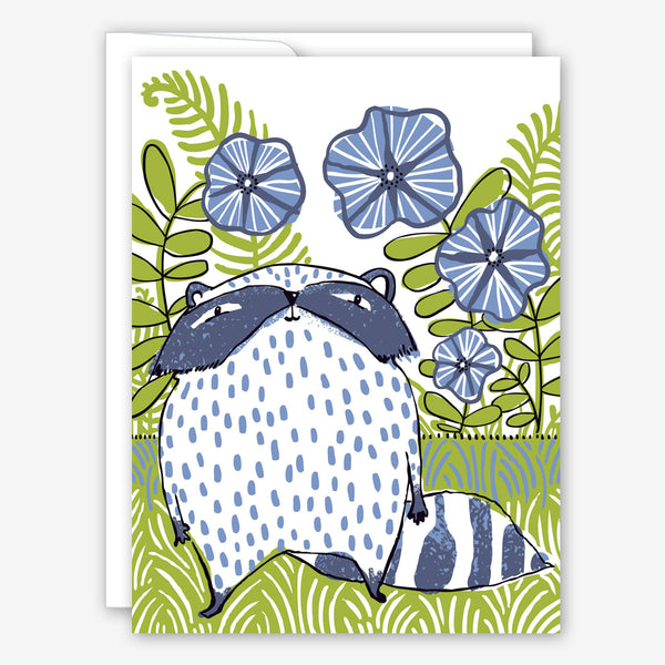 Great Arrow Thank You Card: Racoon in Flowerbed