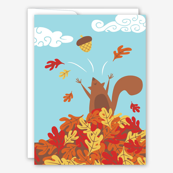 Great Arrow Thanksgiving Card: Squirrel in Leaf Pile