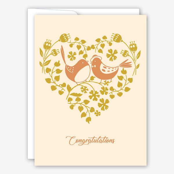 Great Arrow Wedding Card: Metallic Love Birds in Heart on Pearl