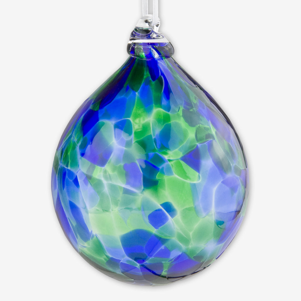 Henrietta Glass: Dew Drop Ornaments: Blue Green Mix