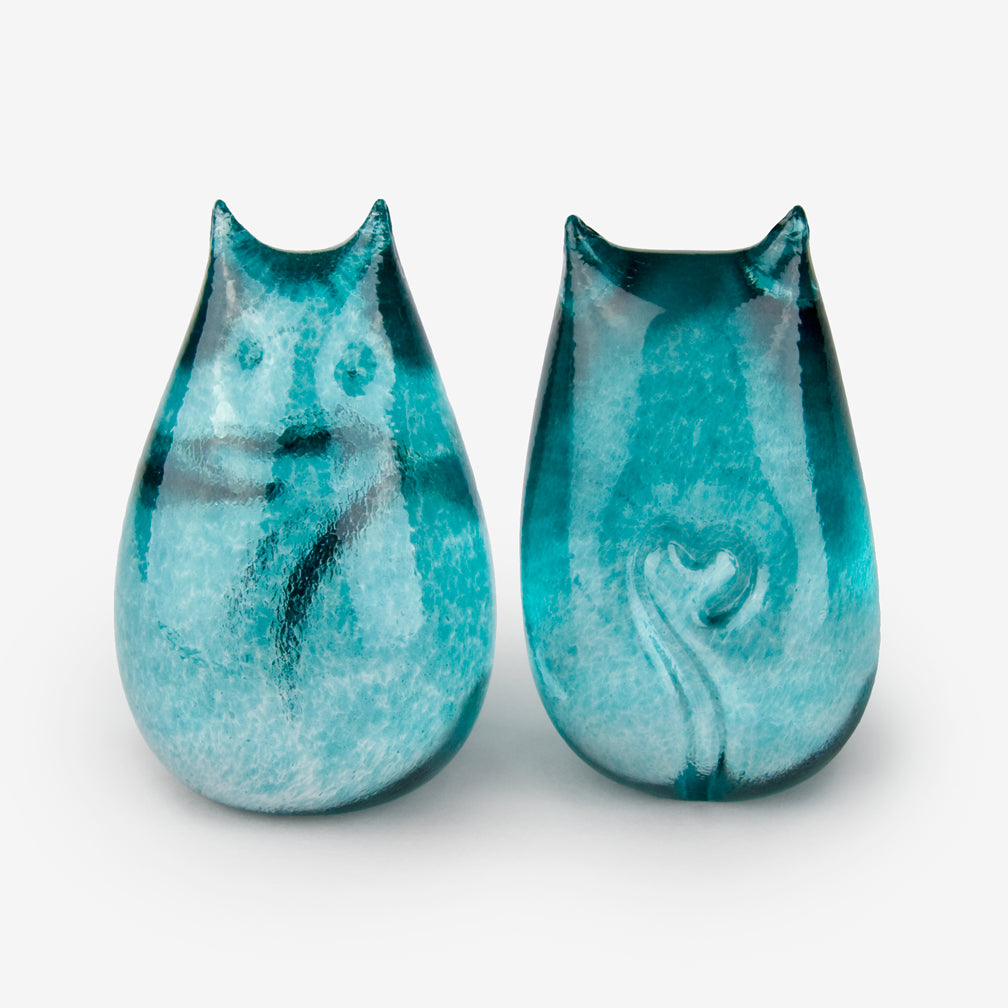 Henrietta Glass: Love Cats: Teal
