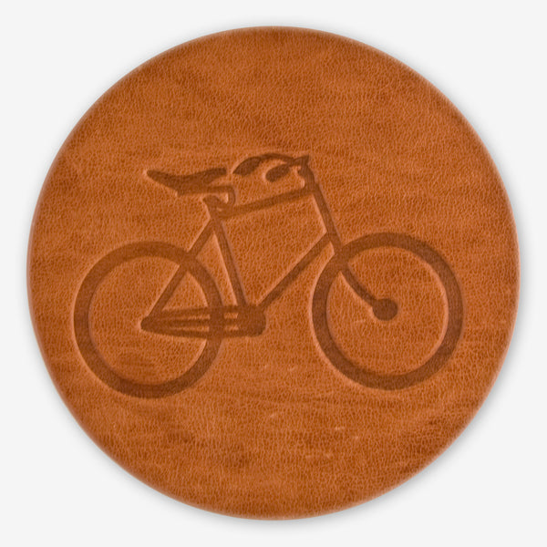 Jimmyrockit Leather Goods: Leather Coaster: Bicycle