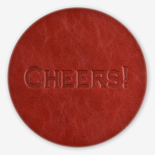 Jimmyrockit Leather Goods: Leather Coaster: Cheers!