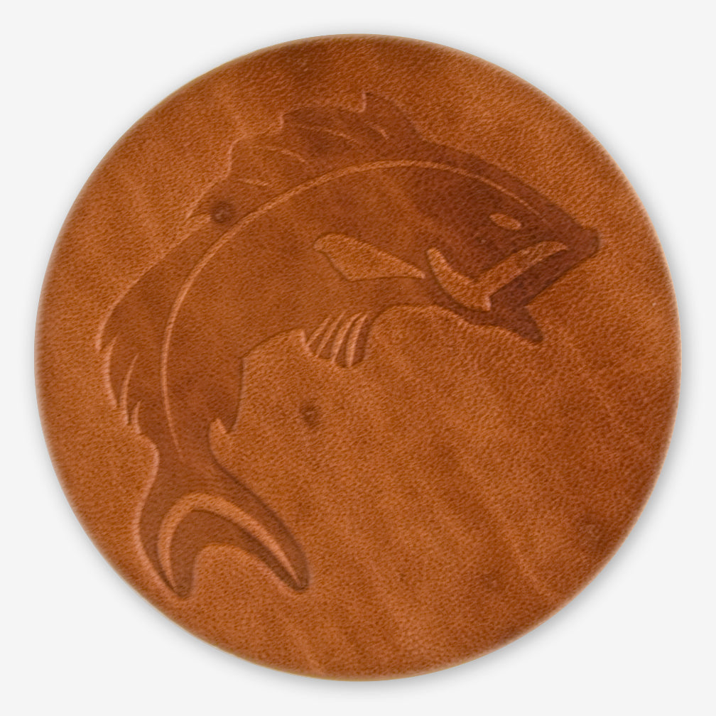 Jimmyrockit Leather Goods: Leather Coaster: Fishing