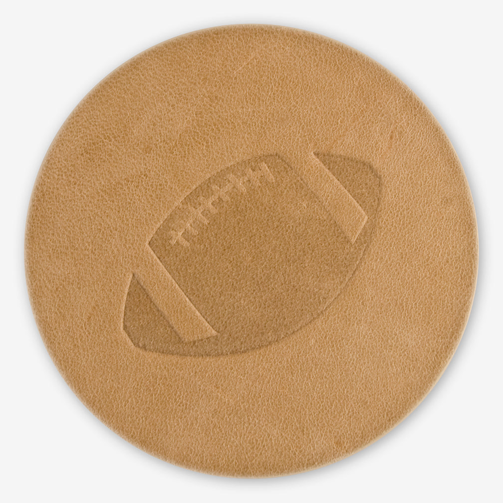 Jimmyrockit Leather Goods: Leather Coaster: Football