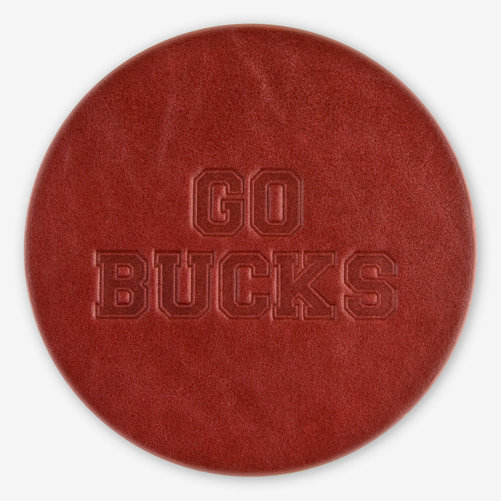 Jimmyrockit Leather Goods: Leather Coaster: Go Bucks