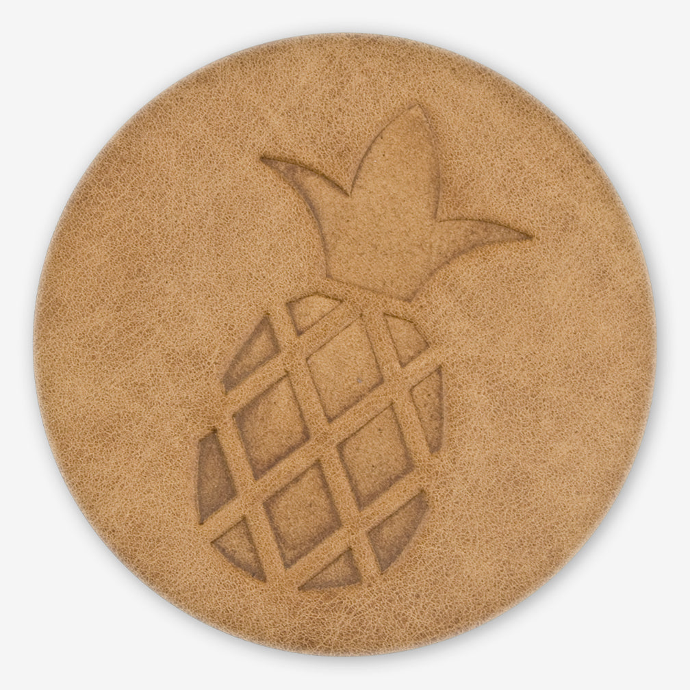 Jimmyrockit Leather Goods: Leather Coaster: Pineapple