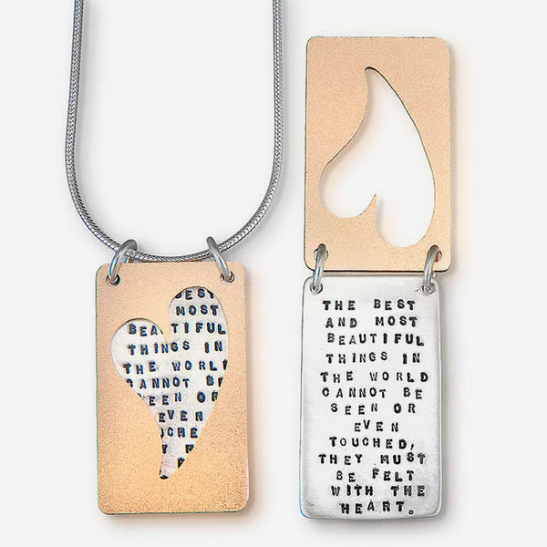 Kathy Bransfield Jewelry: Quote Necklace: Helen Keller Heart