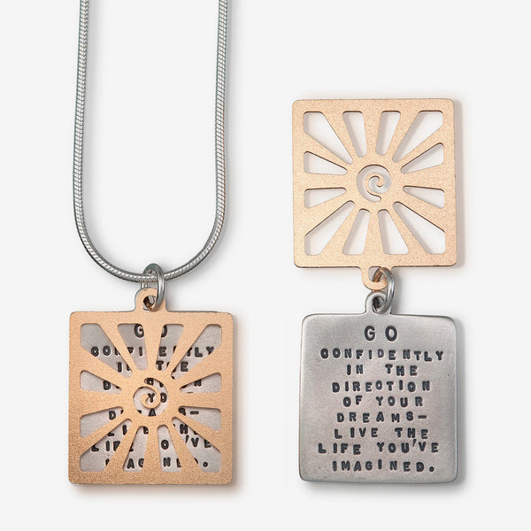 Kathy Bransfield Jewelry: Quote Necklace: Thoreau Sun