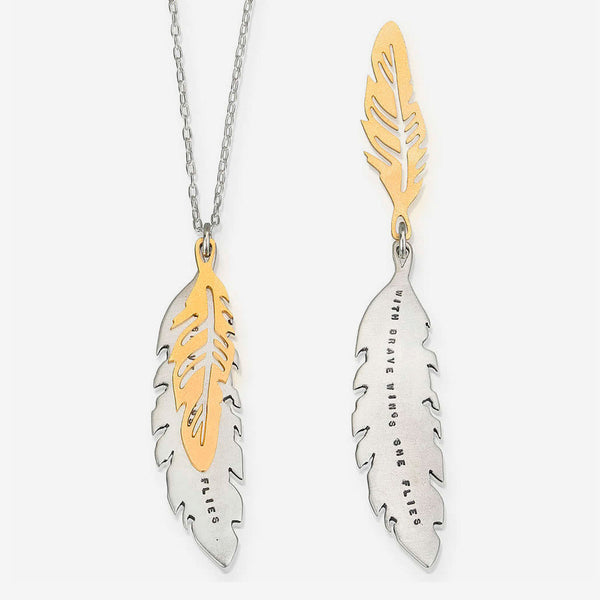 Kathy Bransfield Jewelry: Quote Necklace: With Brave Wings