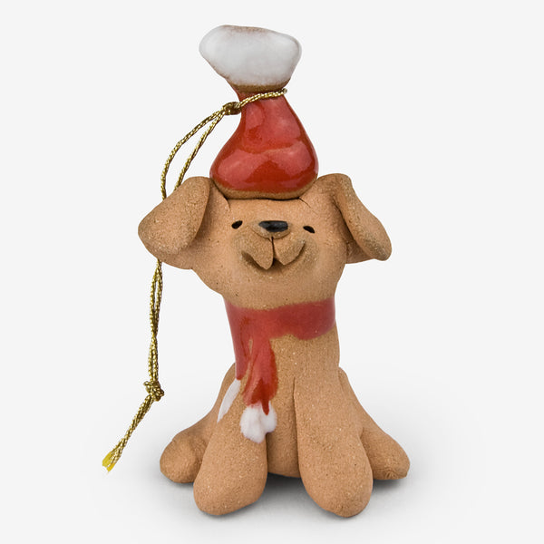 Little Guys: Ceramic Ornament: Santa Dog