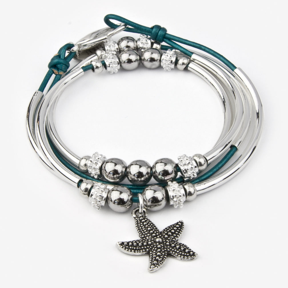 Lizzy James: Mini Shelby Wrap: Metallic Teal with Starfish Charm