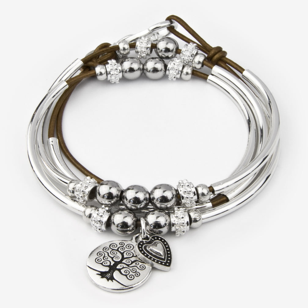 Lizzy James: Mini Shelby Duo Wrap: Metallic Bronze with Tree of Life and Candy Heart Charms