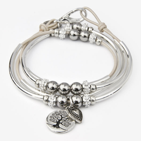Lizzy James: Mini Shelby Duo Wrap: Metallic Pearl with Tree of Life and Candy Heart Charms