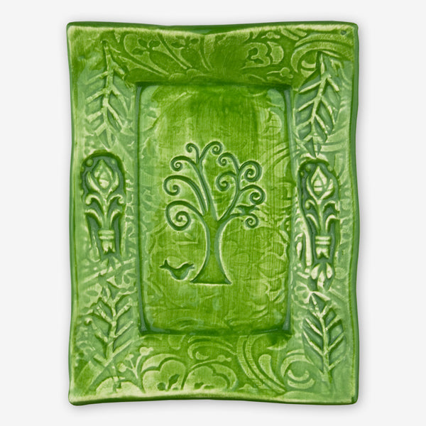 Lorraine Oerth & Company: Ceramic Cookie Tray: Green Bird in Tree