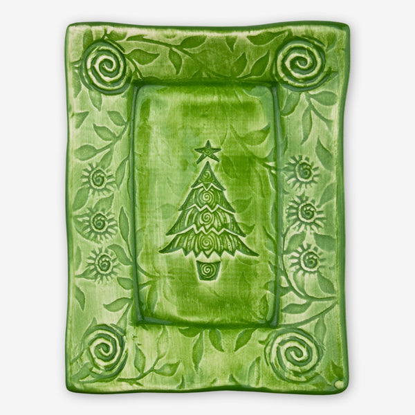 Lorraine Oerth & Company: Ceramic Cookie Tray: Green Christmas Tree