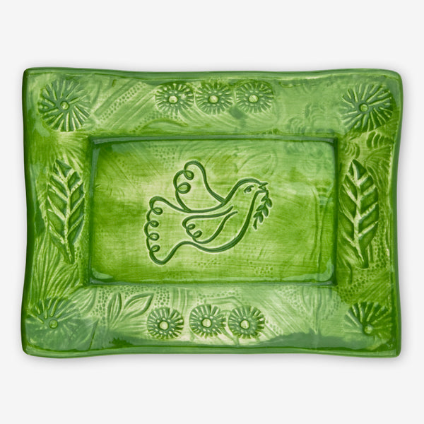Lorraine Oerth & Company: Ceramic Cookie Tray: Green Dove