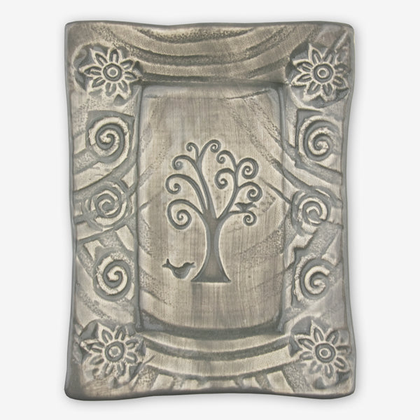 Lorraine Oerth & Company: Ceramic Cookie Tray: Grey Bird in Tree