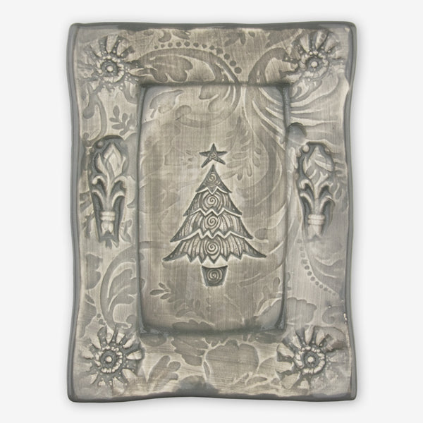 Lorraine Oerth & Company: Ceramic Cookie Tray: Grey Christmas Tree