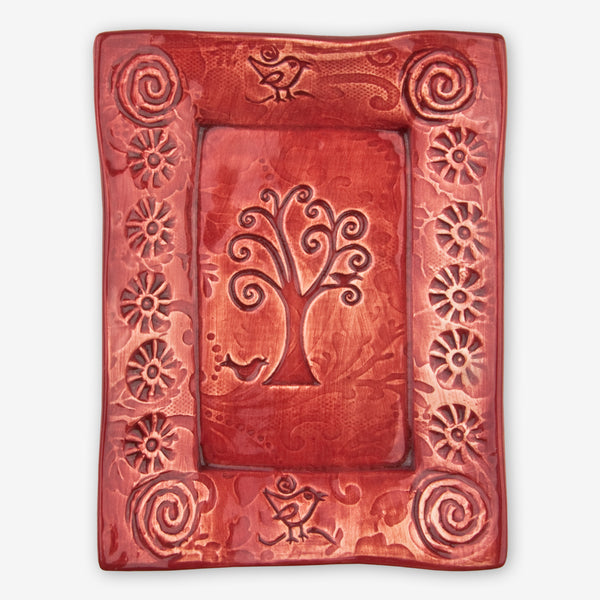 Lorraine Oerth & Company: Ceramic Cookie Tray: Red Bird in Tree