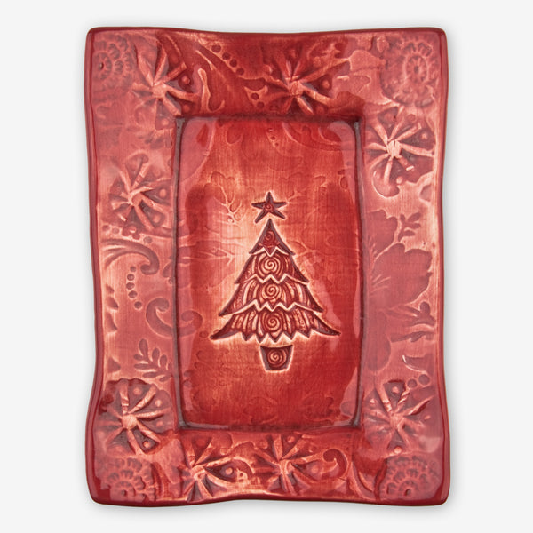 Lorraine Oerth & Company: Ceramic Cookie Tray: Red Christmas Tree