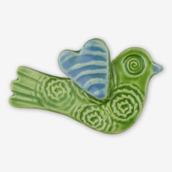 Lorraine Oerth & Company: Ceramic Ornaments: Green Birdie