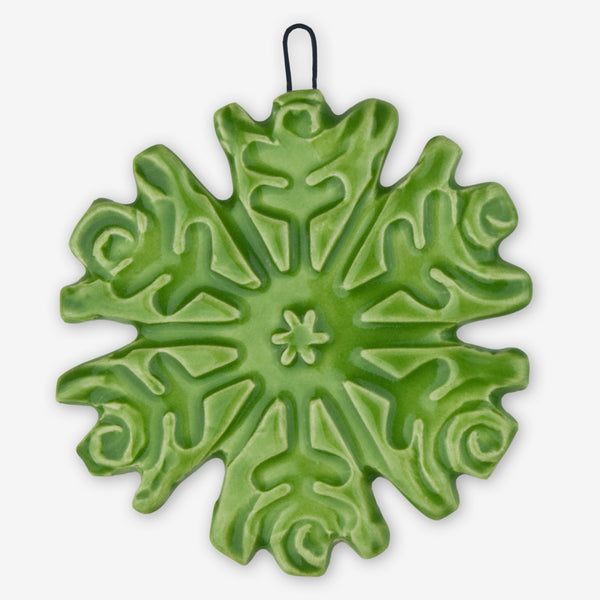 Lorraine Oerth & Company: Ceramic Ornaments: Green Snowflake