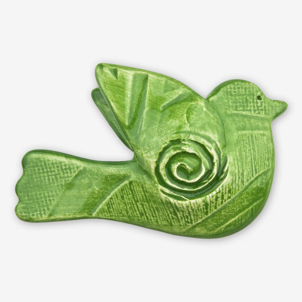Lorraine Oerth & Company: Ceramic Ornaments: Green Peace Bird